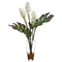 """31"""" White Ginger With Tropical Leaves In Glass Vase"""