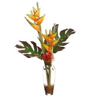 "35"" Orange and Green Heliconia With Tropical Leaves In Glass Vase"