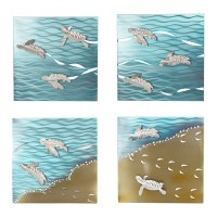 Set Of 4 Square Baby Sea Turtle Panels