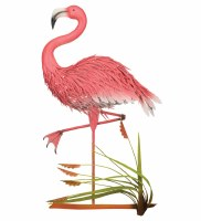 "37"" Pink Flamingo Metal Plaque"