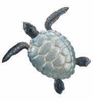 "27"" Galvanized and Blue Sea Turtle Metal Wall Plaque"