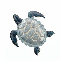 "18"" Galvanized and Blue Sea Turtle Metal Wall Plaque"