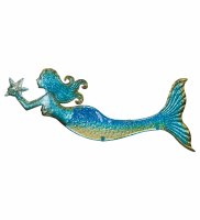 "22"" Blue and Green Metal and Glass Mermaid Wall Plaque"