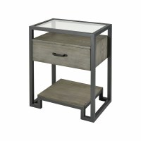 "20"" Gray Iron and Glass Table With 1 Drawer"