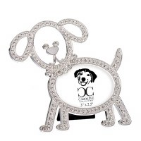"3"" x 2"" Silver Dog Bling Picture Frame"