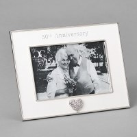 "4"" x 6"" Silver and White 50th Anniversary Picture Frame"