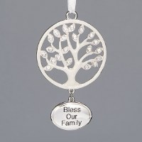 "2"" Silver Bling Family Tree Ornament"
