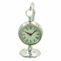 "11"" Silver Hanging Clock With Stand"