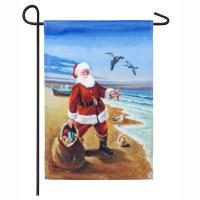 "18"" x 12"" Santa In Sand Garden Flag"