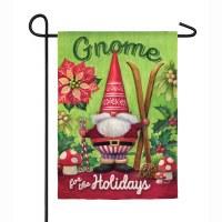 "18"" x 12"" Gnome For The Holidays Garden Flag"
