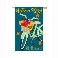 """44"""" x 28"""" Autumn Days Bike Garden Flag"""