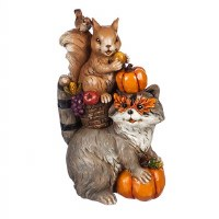 "8"" Racoon and Squirrel With Pumpkin Figurine"