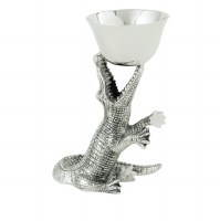 """10"""" Antique Silver Finish Gator With Bowl"""