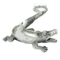 """15"""" Antique Silver Finish Gator Chip and Dip Dish"""