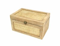 "7"" x 12"" Driftwood Rattan Wood Box"