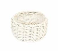 "7"" Round White Washed Woven Basket"