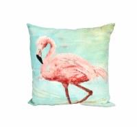 "18"" Square Pink Flamingo On Aqua Pillow"