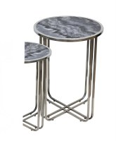 """10"""" Round Gray Marble With Silver Legged Table"""