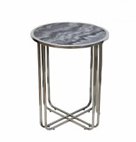 """13"""" Round Gray Marble With Silver Legged Table"""