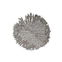 "16"" Round Silver Metal Leaf Wall Plaque"