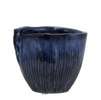 "6"" Navy Ribbed Ceramic Pot"