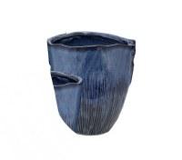 "10"" Navy Ribbed Ceramic Pot"