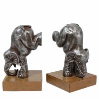 "9"" Antique Silver Finish Elephant Polystone Bookend"