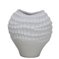 "12"" White Dimpled Ceramic Vase"