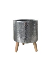 """9"""" Silver Ceramic Footed Pot"""