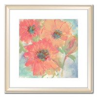 """32"""" Square Coral Flowers 1 Framed Canvas"""