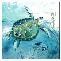 """16"""" Square Turtle With Small Fish Canvas"""