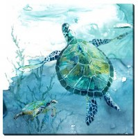 """16"""" Square Turtle With Small Turtle Canvas"""