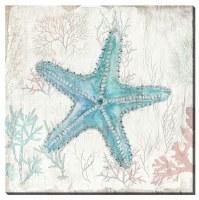 "16"" Square Multipastel Starfish Canvas"