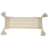 "12"" x 35"" Two Toned Beige Pillow With Tassels"