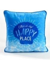 "16"" Square Blue Happy Place Pillow"