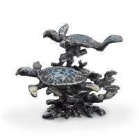 """4.5"""" Verdigris 2 Turtle and Coral Sculpture"""