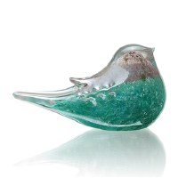 "3"" Silver and Teal Glass Bird"