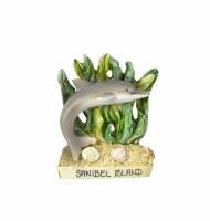 Sanibel Dolphin Seaweed Resin Magnet