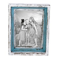 "5"" x 7"" Antique Blue and White Finish Picture Frame"