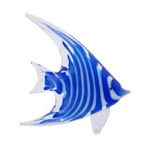 "8"" Blue and White Stripe Glass Fish"