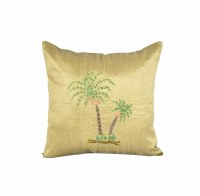 "16"" Square Green Palm Pillow"