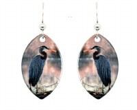 Blue Heron Earrings