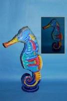 """26"""" Multicolored Metal Seahorse Lantern"""