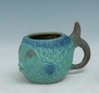 """4"""" Multicolored Blue Fish Pot"""