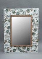 "37"" x 29"" White, Green and Gold Metal Mirror"