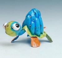 "13"" Blue Multicolored Metal Turtle"