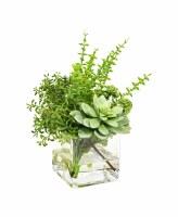 "9"" Succulent Eucalyptus Glass Vase"