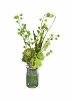 "30"" Tall Sans Sedum Glass Iron Vase"