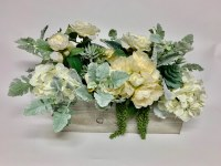 "15"" Cream Flowers With Gray Leaves In Wooden Rectangular Box"