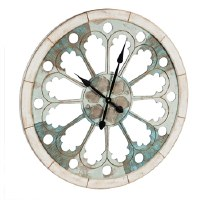 "31"" Round Aqua and White Openwork Wall Clock"